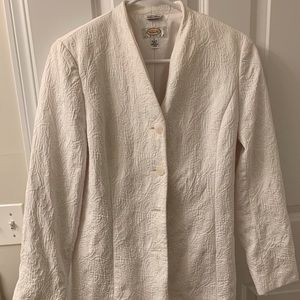Winter-White Collarless Tailored Talbots Blazer 8P
